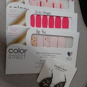 Color Street pink bundle w/Park Lane jewelry